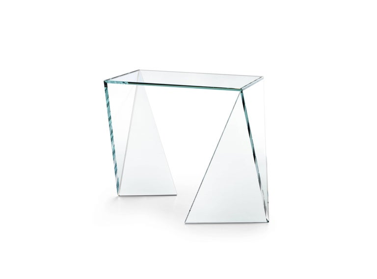The side table 'Origami Classic' is made of crystal glass. Side table dimension: L 55, W 40, H 50cm. The inspiration for origami came from the observation of a simple piece of paper which, being folded a few times according to an antique Japanese