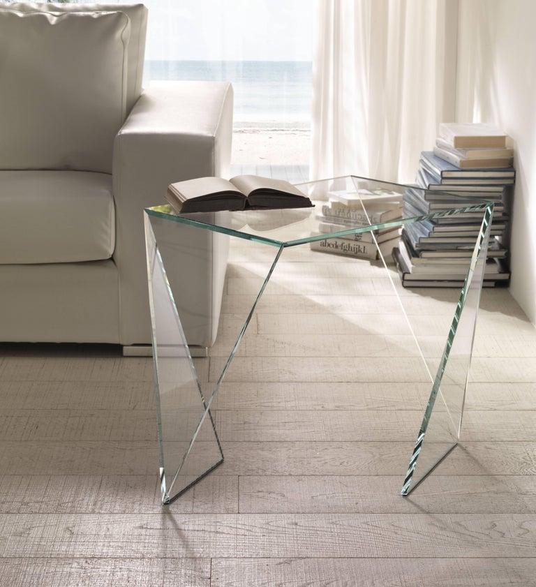 Italian Side Table Modern Glass Crystal Limited Edition Design