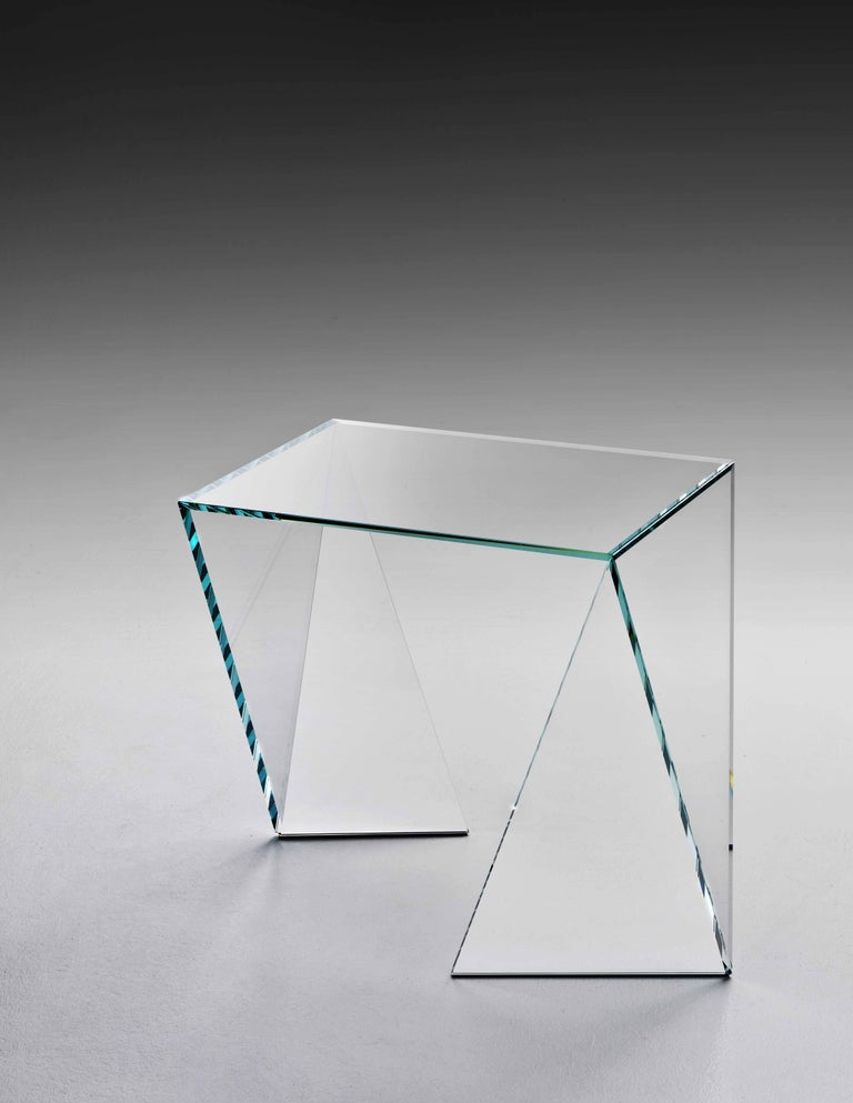 Hand-Crafted Side Table Modern Glass Crystal Limited Edition Design