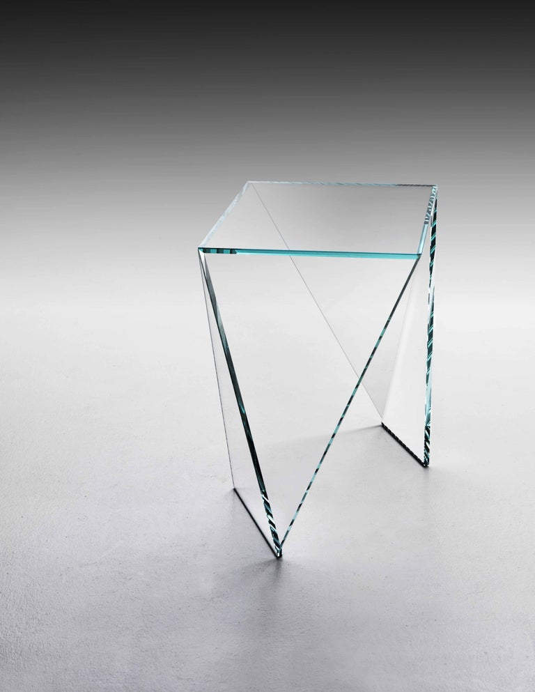 Side Table Modern Glass Crystal Limited Edition Design In New Condition In Ancona, Marche