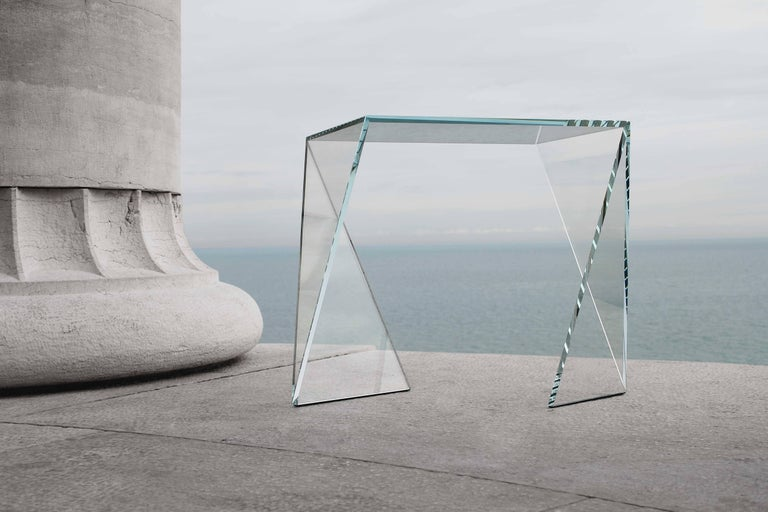 Side Table Modern Glass Crystal Limited Edition Design 1