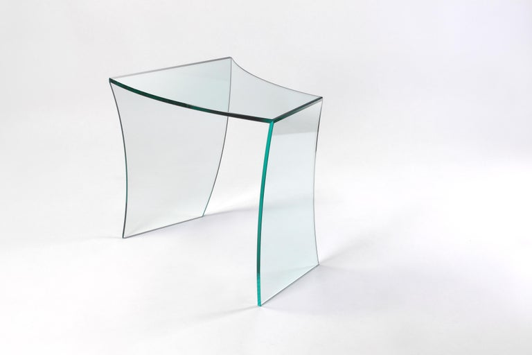 """The tables """"bent straights"""" origin in a game of curves, arising from a two-dimensional surface turning into three-dimensional objects, prospectively contradictory, deceiving the perception we have of them. Windy and continuous profiles are"""