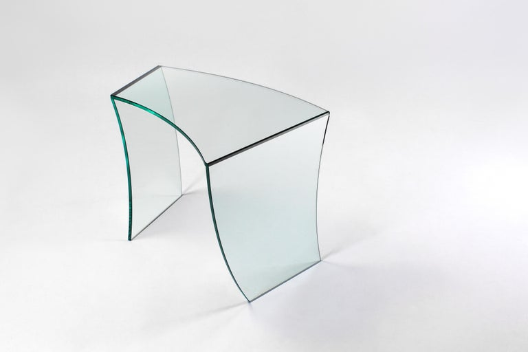 Hand-Crafted Side Table Modern Glass Limited Edition Design For Sale
