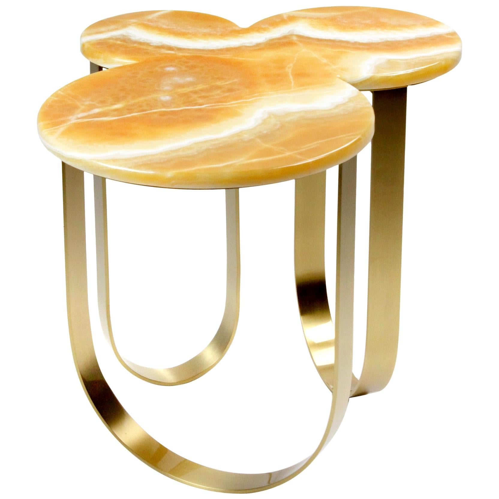 Side Table Modern Orange Onyx Brass Italian Limited Edition Design