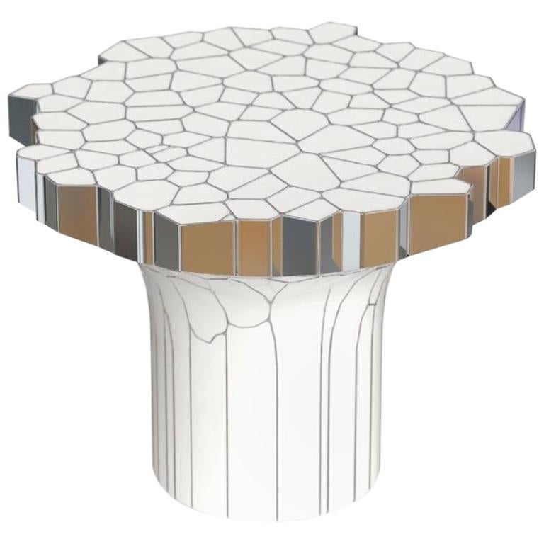 Side Table (MY Collection) by Michael Young Polished Stainless Steel and Enamel For Sale