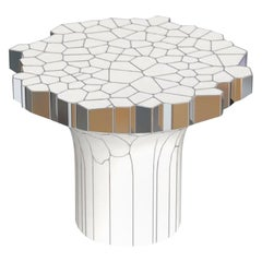Side Table 'MY Collection' by Michael Young Polished Stainless Steel and Enamel