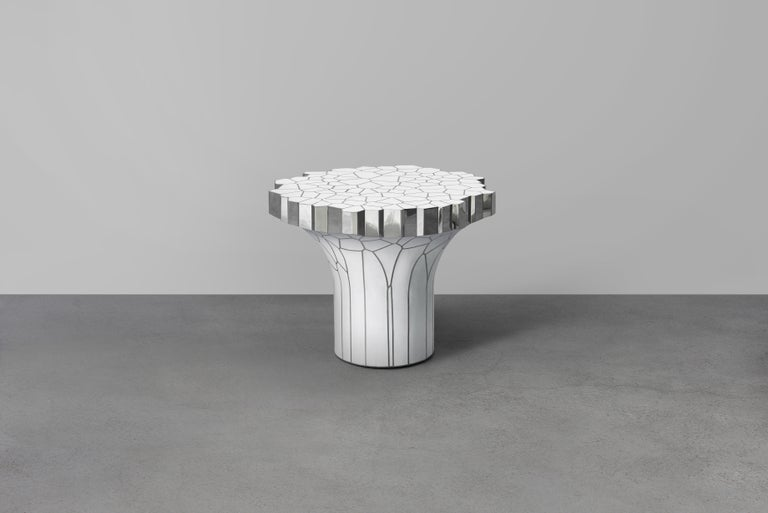 Chinese Side Table 'MY Collection' by Michael Young Stainless Steel and White Resin For Sale