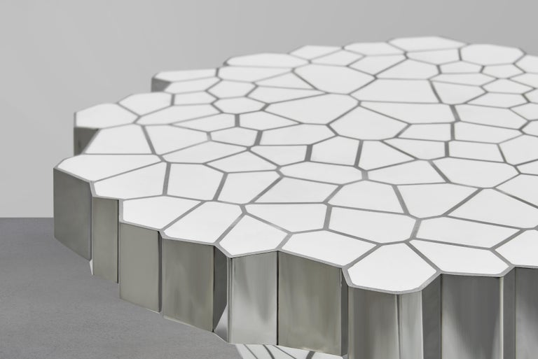 Polished Side Table 'MY Collection' by Michael Young Stainless Steel and White Resin For Sale
