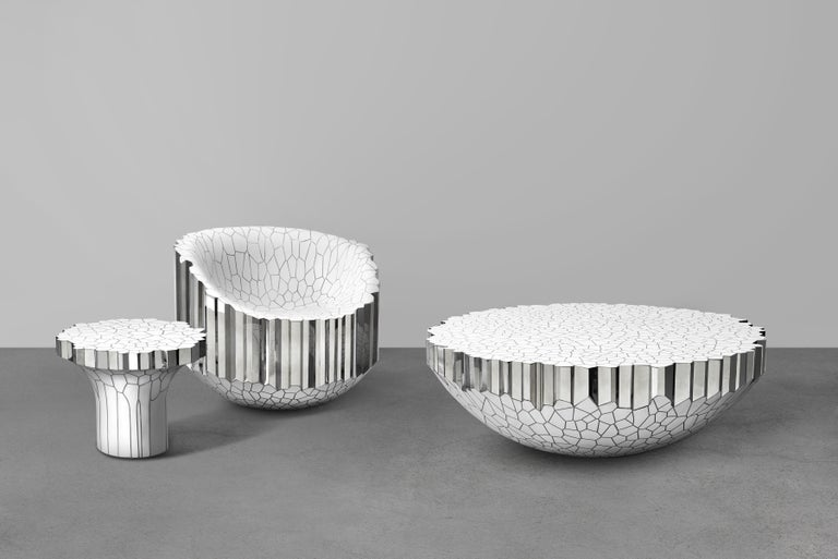 Side Table 'MY Collection' by Michael Young Stainless Steel and White Resin In New Condition For Sale In Los Angeles, CA