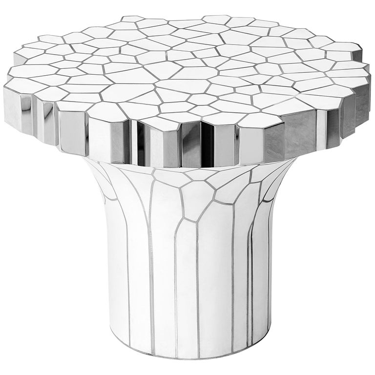 Side Table 'MY Collection' by Michael Young Stainless Steel and White Resin For Sale