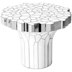 Side Table 'MY Collection' by Michael Young Stainless Steel and White Resin
