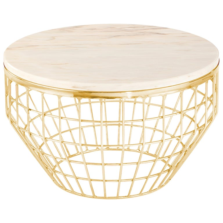 Side Table New Air in Brass or Copper For Sale