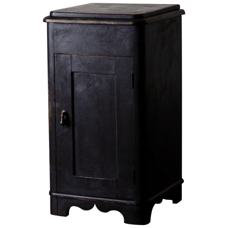 Side Table Nightstand Swedish Black, 19th Century, Sweden For Sale