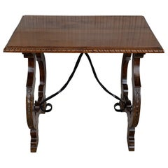 Side Table of Walnut with Carved Lyre Legs and Top, Spanish, 19th Century