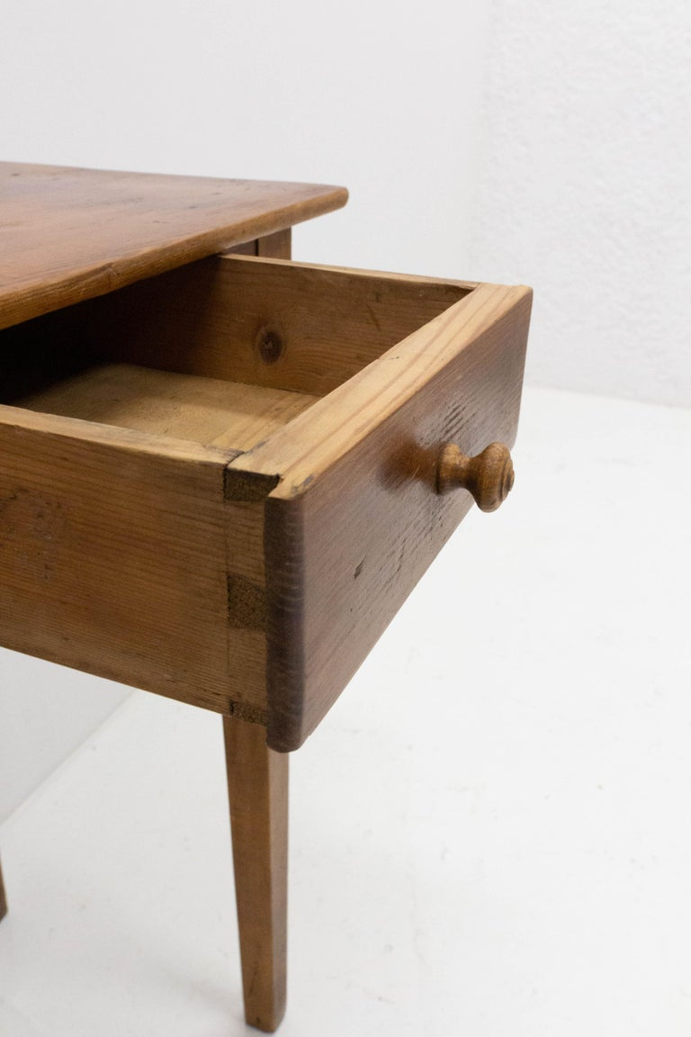 Wood Side Table or End Table with Drawer French, Early 20th Century For Sale