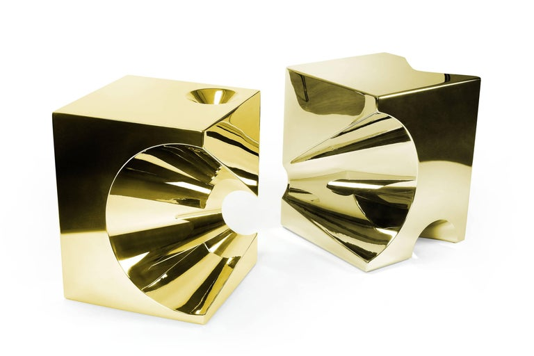 Modern Side Table or Stool Cubic Square Steel Gold Italian Contemporary Design For Sale