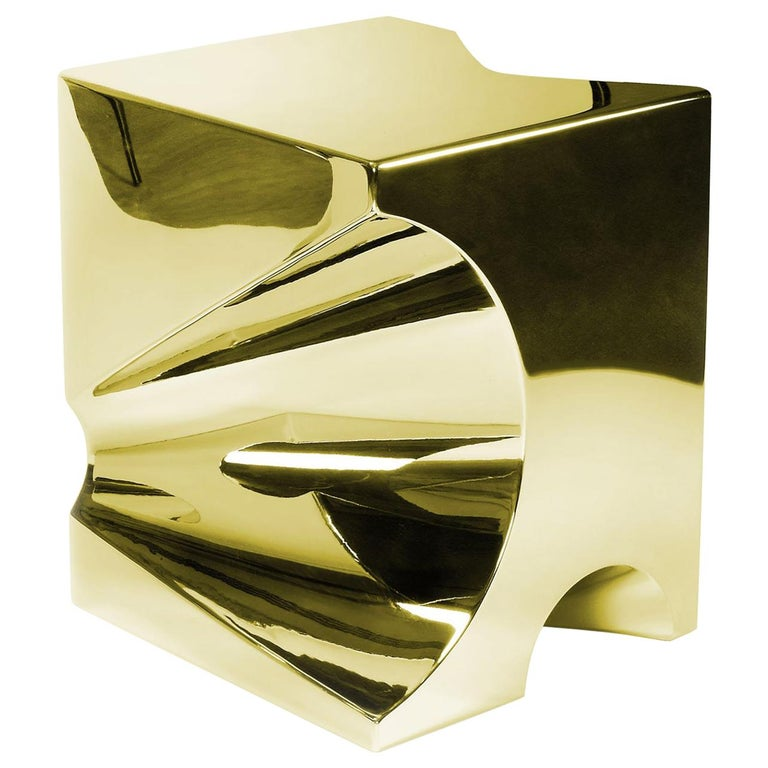 Side Table or Stool Cubic Square Steel Gold Italian Contemporary Design For Sale