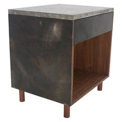 Side Table, Patinated Steel, Cast-Concrete and Walnut with Drawer, Tip-On
