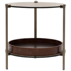 GHYCZY Side Table Pioneer T79DB Brass Patinated, Tray Cherry, Rounded Shape