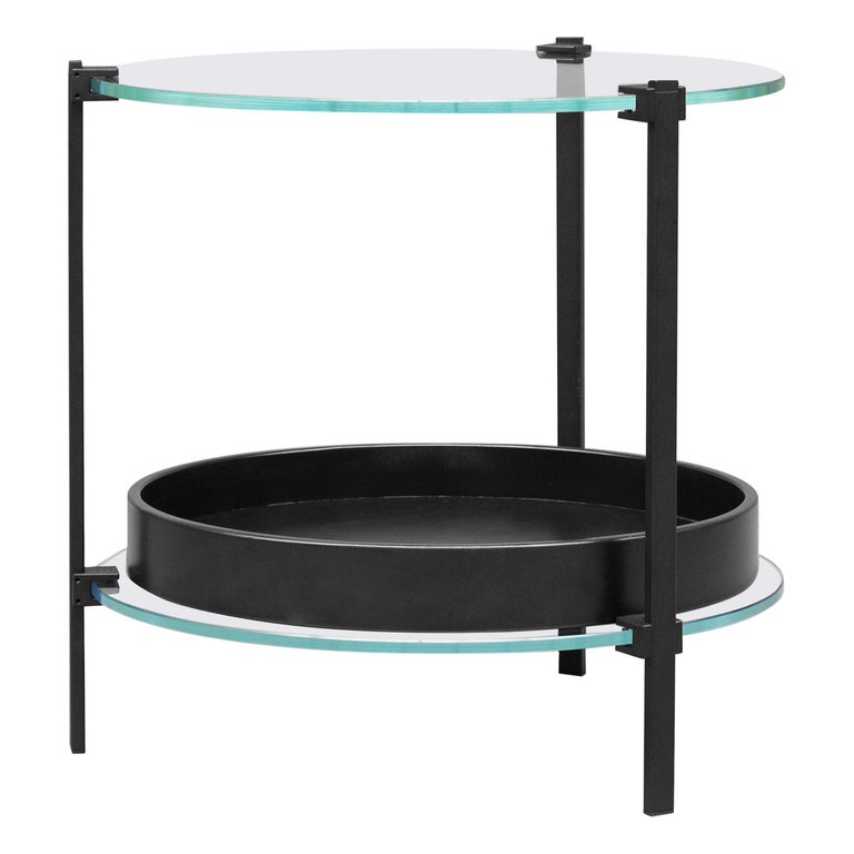 GHYCZY Side Table Pioneer T79DB Charcoal, Tray Oak, Glass Top, Double Layered For Sale