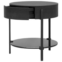 GHYCZY Side Table Pioneer T79L Charcoal, Round Shaped, Drawer