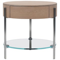 21st Century round three-leg small bed side table with solid oak drawer
