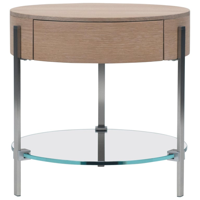 21st Century Round Three Leg Small Bed Side Table With Solid Oak Drawer For At 1stdibs - Solid Oak Side Table With Drawers