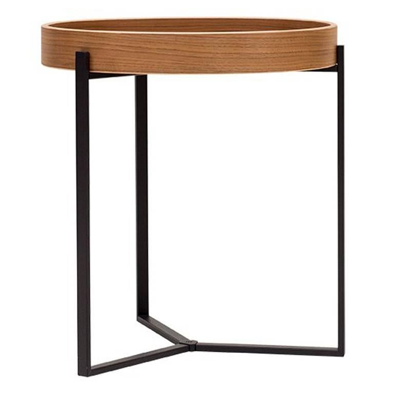 Side Table Pivot T82 Ristretto Frame, Walnut Tray Modern Style