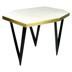 Side Table POLYGONE in Rock Crystal Marquetry by Ginger Brown