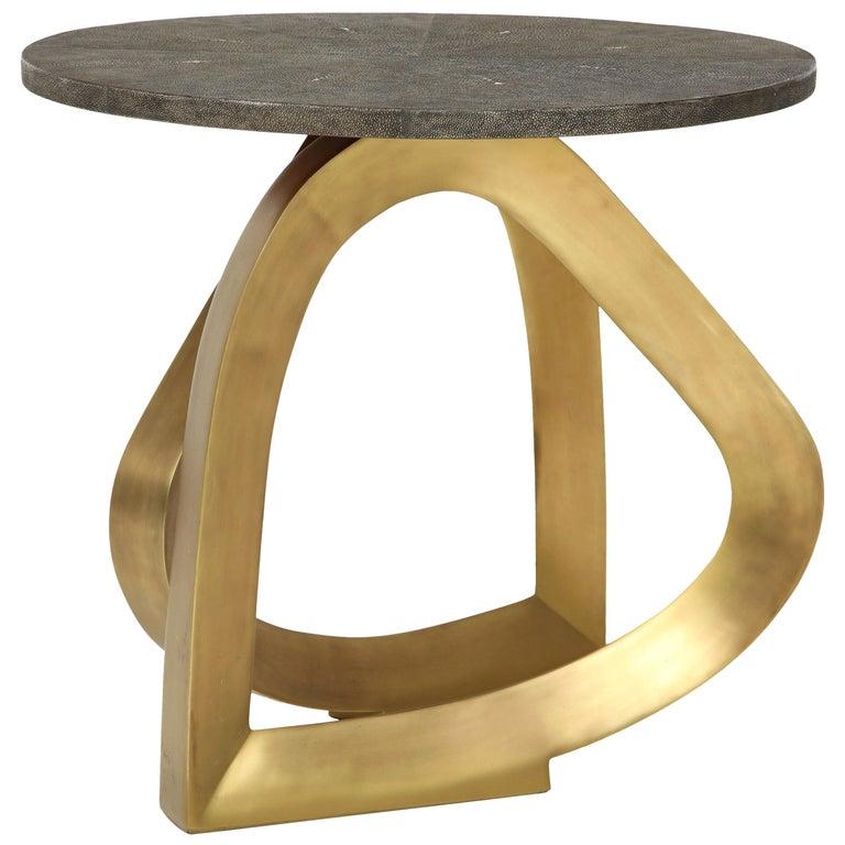 Deposit 1/2 - Side Table, Shagreen with Bronze Base, Khaki Color Shagreen For Sale