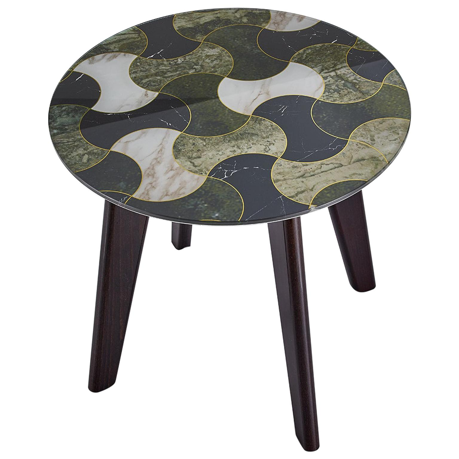 Side Table Solid Timber Legs in Matt Metallic Paint and Top in Vetrite