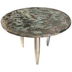 "Side Table Star Dust ""Sky"", Melted Pewter, Murano Glass, Crystal Resin"