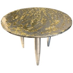 "Side Table Star Dust ""Sun light"", Melted Pewter, Brass Grains, Crystal Resin"