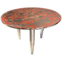 "Side Table Star Dust ""Vulcanus"", Melted Pewter, Murano Glass, Crystal Resin"
