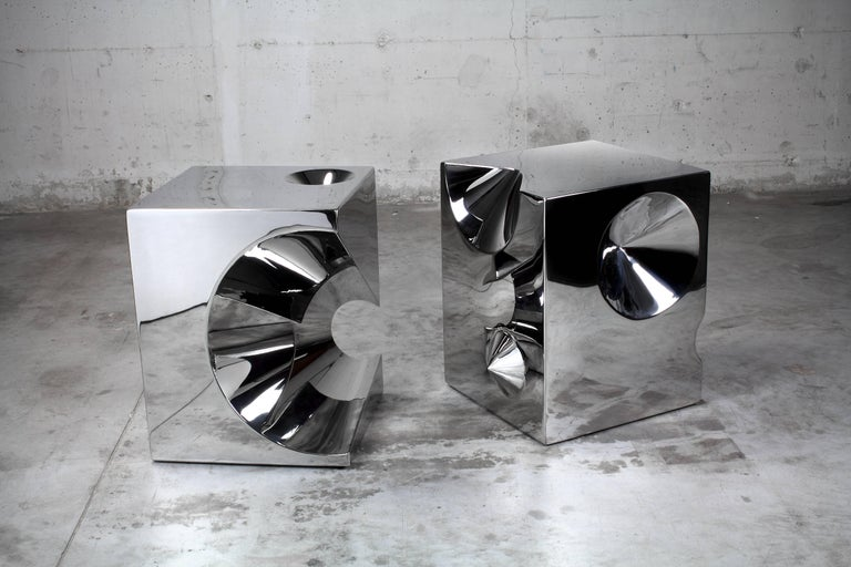 Contemporary Side Table Stool Modern Square Steel Italian Limited Edition Design For Sale