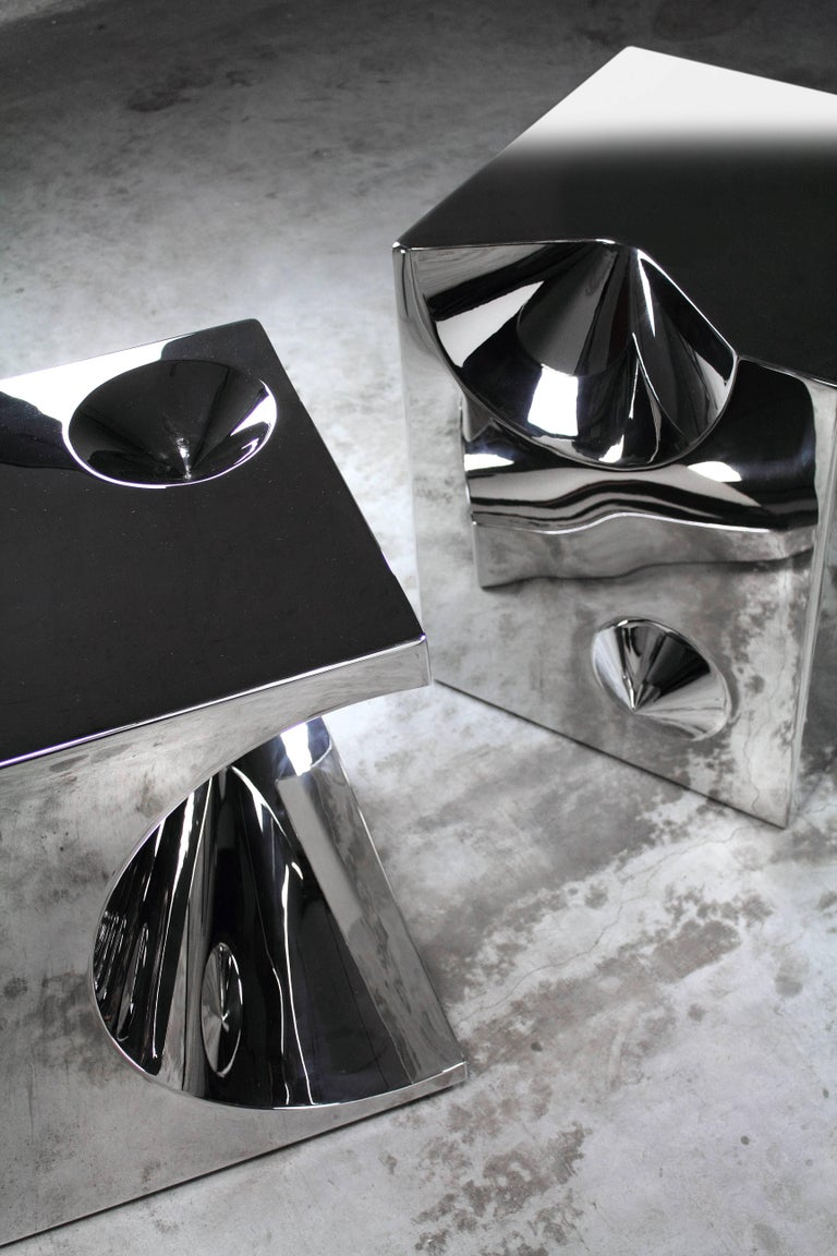 Side Table Stool Modern Square Steel Italian Limited Edition Design For Sale 1