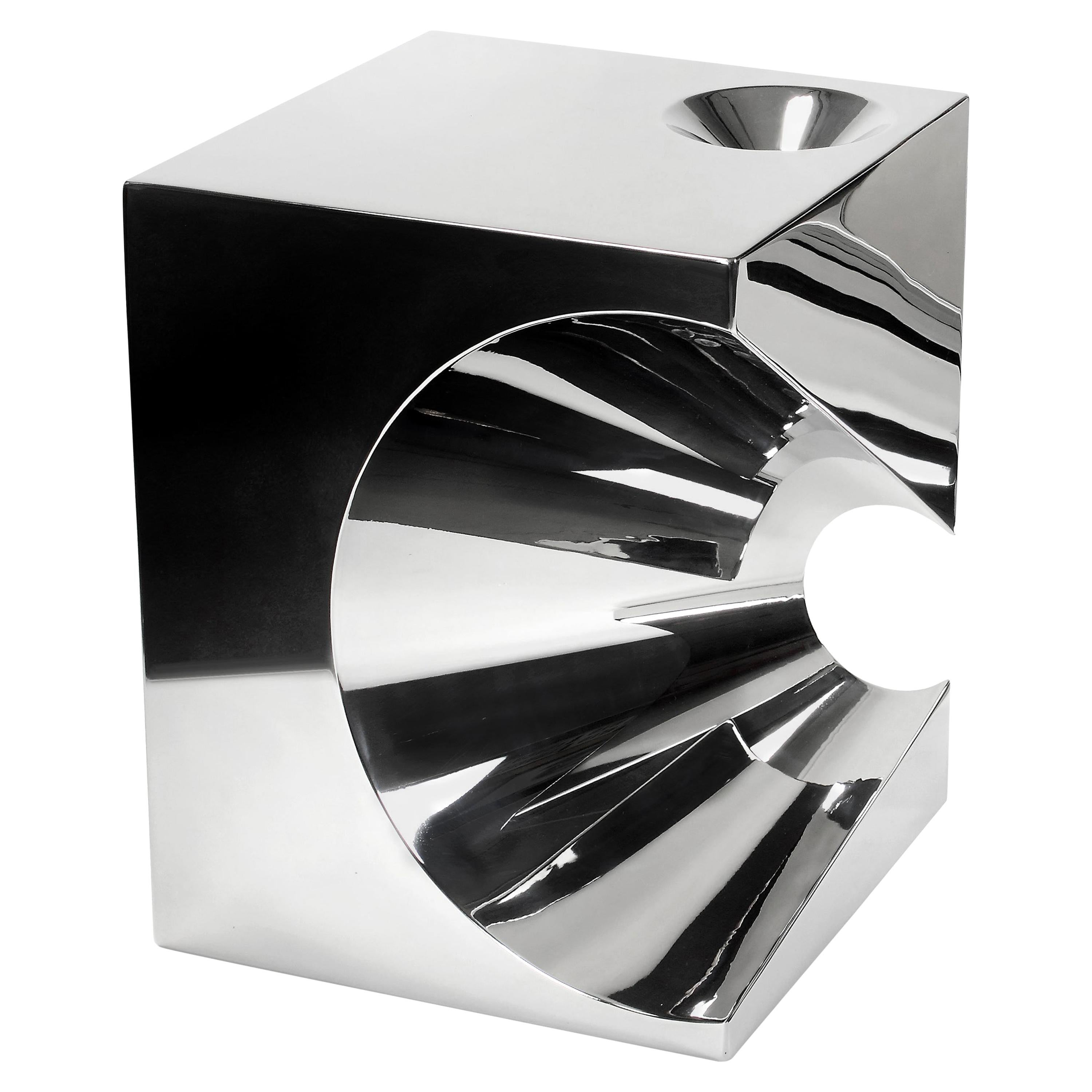 Side Table Stool Modern Square Steel Italian Limited Edition Design