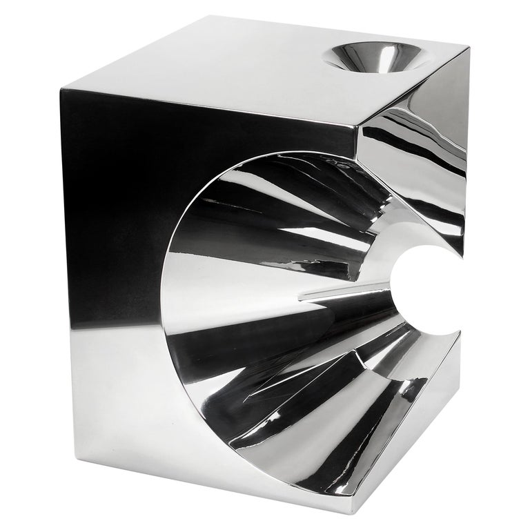 Side Table Stool Modern Square Steel Italian Limited Edition Design For Sale