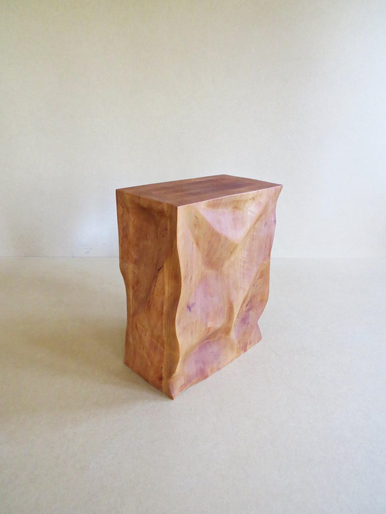 Organic Modern Modern, European, 21st Century, Side Table, Stool, Solid Wood, Sculptural For Sale
