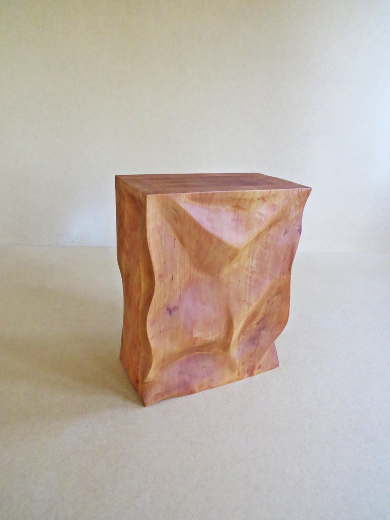 Modern, European, 21st Century, Side Table, Stool, Solid Wood, Sculptural For Sale 2
