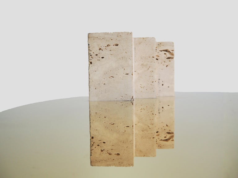 Organic Modern Side Table Travertine and Brass Sculpted by Dessislava Madanska For Sale