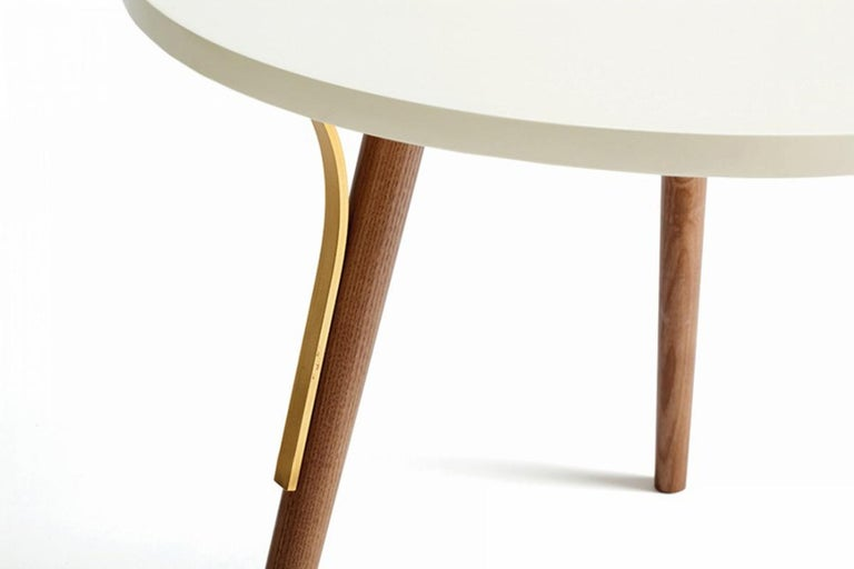 Portuguese Side Table Way in Wood and Brass For Sale