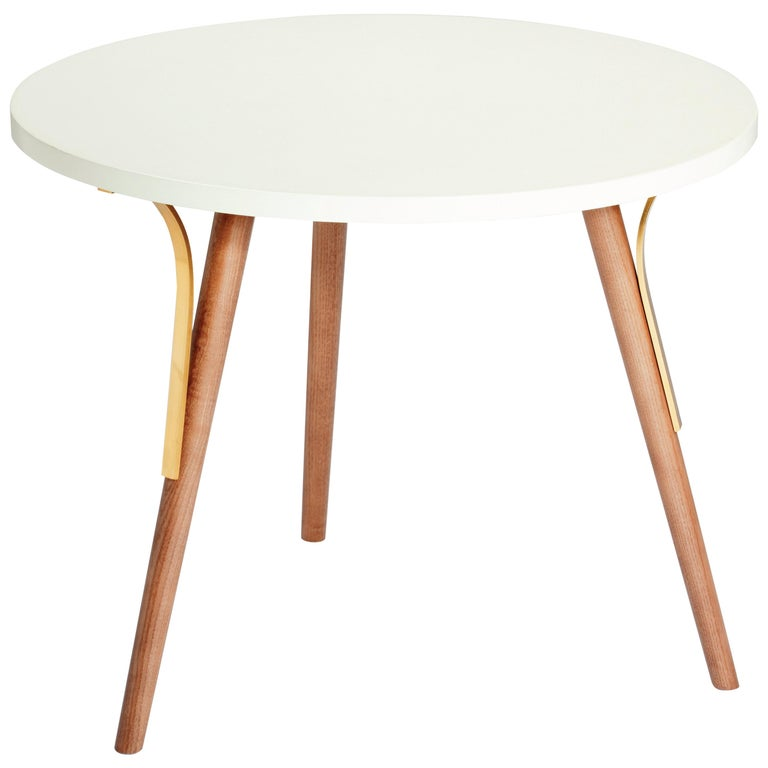 Side Table Way in Wood and Brass For Sale