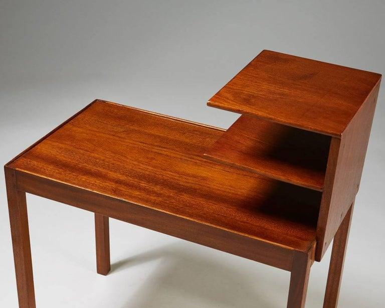 Mahogany Side Table with Bookshelf Designed by Josef Frank for Svenskt Tenn, Sweden, 1950 For Sale