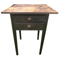 Side Table with Dark Painted Base and Knobs