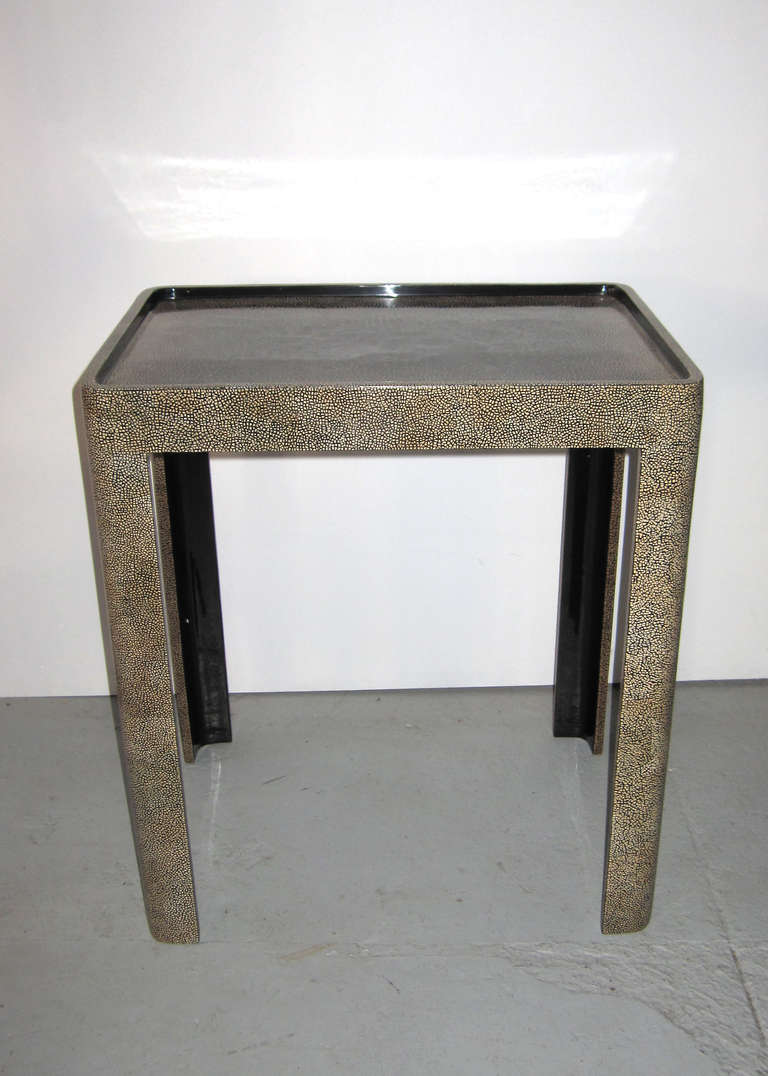 Side table featuring exquisite eggshell and lacquer work.
