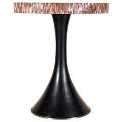 Side Table with Kuai Design Trim by Robert Kuo, Hand Repoussé, Limited Edition