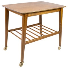 Side Table with Shelf and on Wheels, in Teak of Danish Design from the 1960s