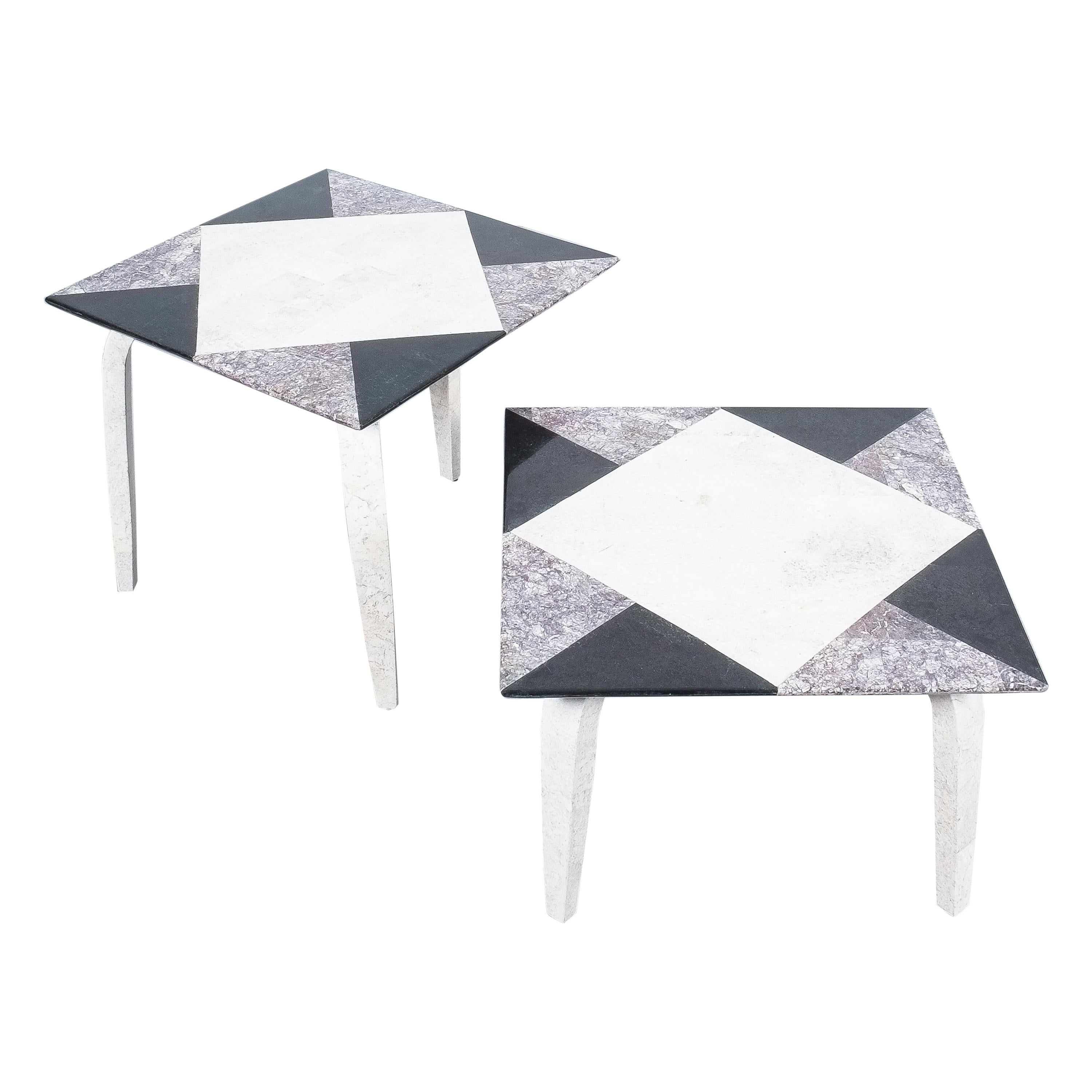 Side Tables From Mosaic Marble Tiles, Italy, circa 1970