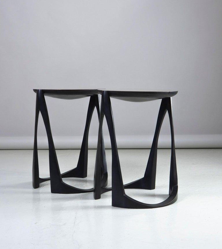 French Side Tables in Bronze by Anasthasia Millot For Sale